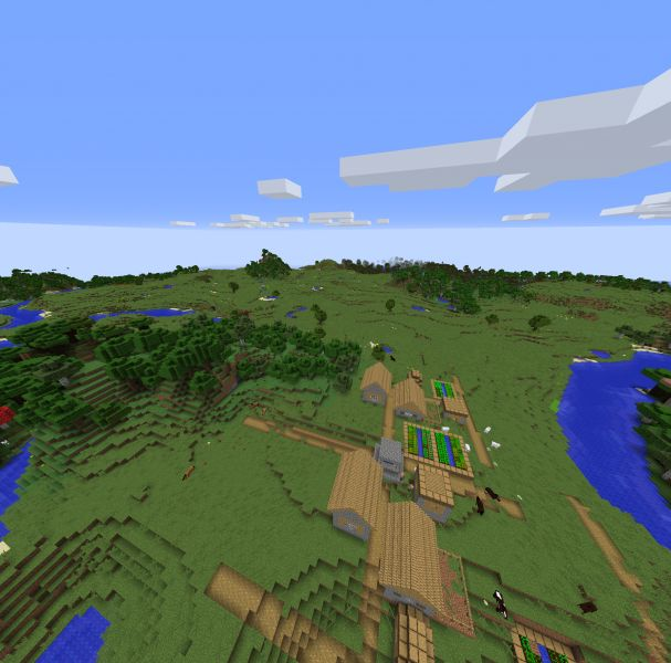 Minecraft Seed Village In A Beautiful Setting (great Amazon-like River) 2