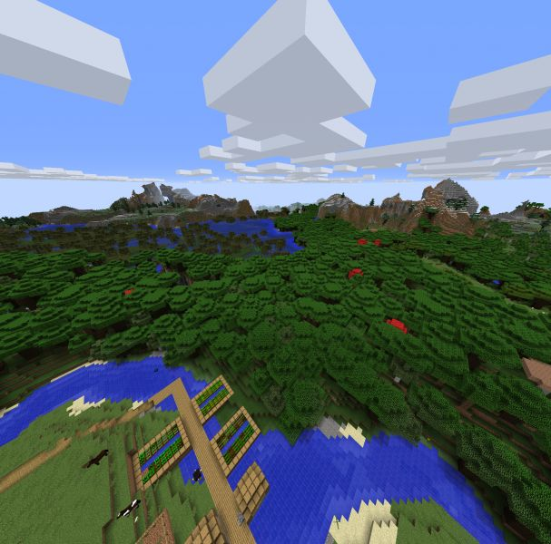 Minecraft Seed Village In A Beautiful Setting (great Amazon-like River) 3