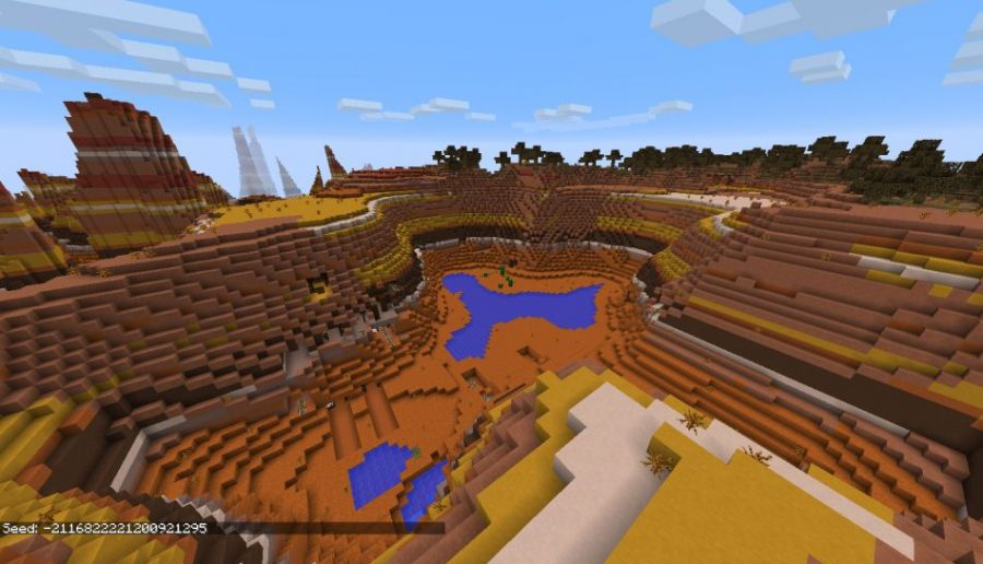 Huge Mesa Biome Crater With Exposed Mineshaft