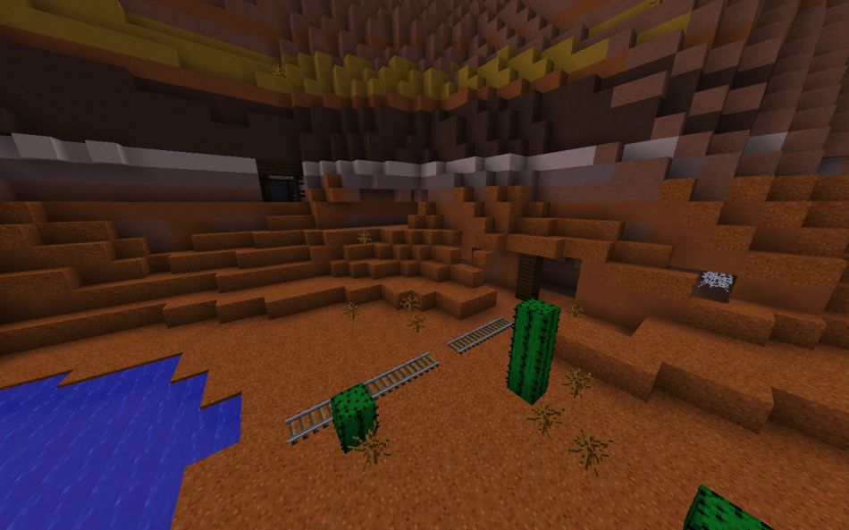 Minecraft Seed Huge Mesa Biome Crater With Exposed Mineshaft 2