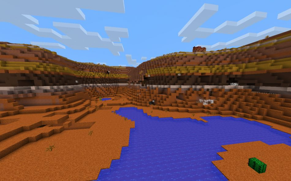 Minecraft Seed Huge Mesa Biome Crater With Exposed Mineshaft 3