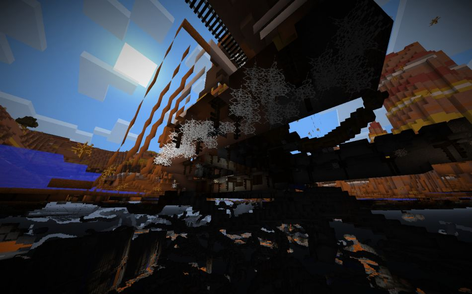 Minecraft Seed Huge Mesa Biome Crater With Exposed Mineshaft 4